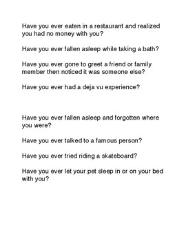 Have you ever? - Great Speaking Game to Practice Present Perfect