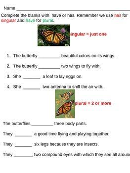 Have/Has Printable Practice Worksheet