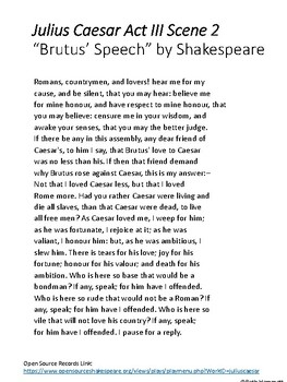 Shakespeare: Having Fun with Brutus' Speech (Julius Caesar)