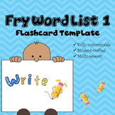 Fry Word List Flashcard Template (First 100 Words)