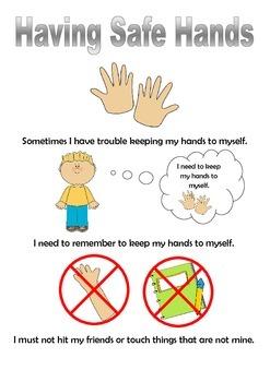 Having safe hands Social Story - boy version