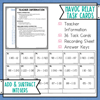 Adding and Subtracting Integers Havoc Relay