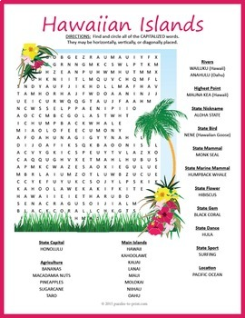 Hawaii Geography Word Search Puzzle