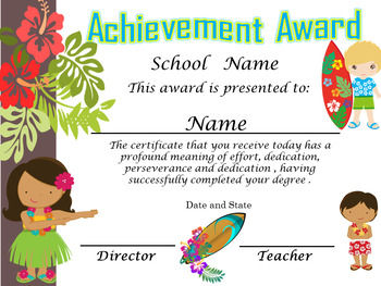 Hawaii Achievement Award Complete Editable!!! Spanish & English version