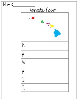 Hawaii Acrostic Poem
