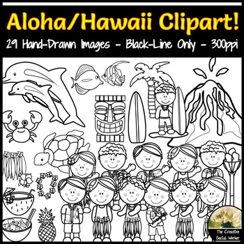 Hawaii, Aloha, Vacation Clipart Set! BLACK-LINE ONLY