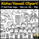Hawaii, Aloha, Vacation Clipart Set! BLACK-LINE ONLY