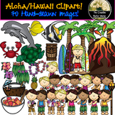 Hawaii, Aloha, Vacation Clipart Set! Black-line & Color!