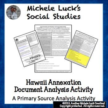 Hawaii Annex Joint Resolution Document Analysis Activity U.S. Imperialism
