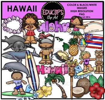 Hawaii Clip Art Bundle {Educlips Clipart}