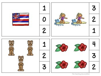 Hawaii Count & Clip Numbers 1- 30 Task Cards
