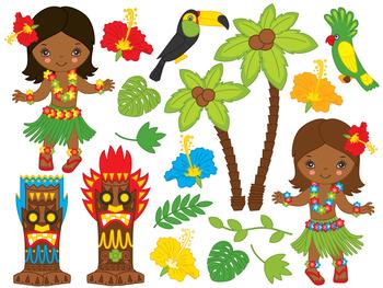 Hawaii Girl Clipart - Digital Vector Hawaii, Girl, Luau, Hula, Aloha Clip Art