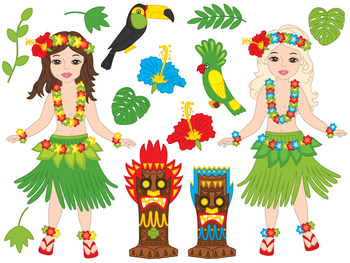 Hawaii Girl Clipart - Digital Vector Hawaii, Girl, Luau, H