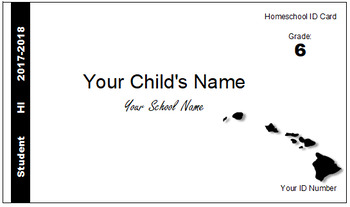Hawaii (HI) Homeschool ID Cards for Teachers and Students