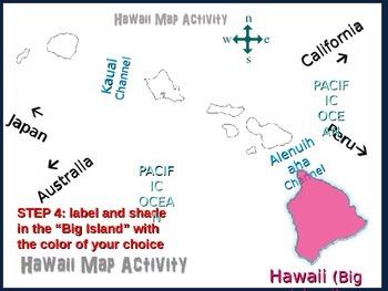 Hawaii Map Activity- fun, engaging, follow-along PPT with blank map handouts