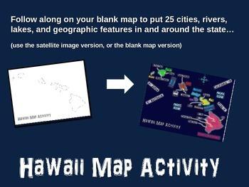 Hawaii Map Activity- fun, engaging, follow-along PPT with