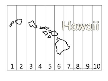 Hawaii Number Sequence Puzzle.  Learn the States preschool printable game.
