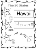 Hawaii Read it, Trace it, Color it Learn the States preschool worksheet.