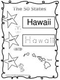 Hawaii Read it, Trace it, Color it Learn the States preschool worksheet.