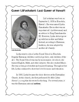 Hawaii (Queen Lili'uokalani) Reading Comprehension