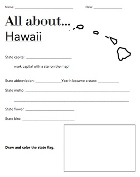 Hawaii State Facts Worksheet: Elementary Version