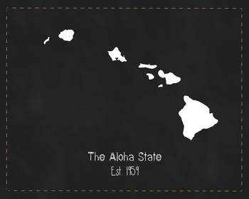 Hawaii State Map Class Decor, Government, Geography, Black and White Design