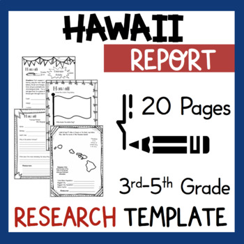 Hawaii State Research Report Project Template + bonus timeline Craftivity HI