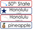 Hawaii State Word Wall Bulletin Board Set. Geography Curriculum.