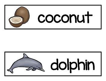 Hawaii Vocabulary Word Cards