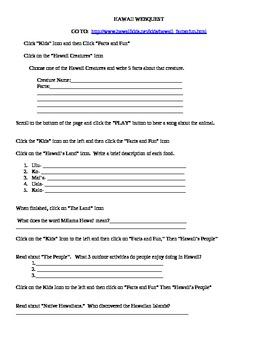 Hawaii Web Quest (Editable)