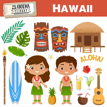 Hawaii clipart Tropical clipart Luau clipart Travel clipart Hawaian Tiki