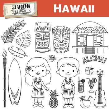 Hawaii clipart Tropical clipart Luau clipart Travel clipart Hawaian Tiki clipart