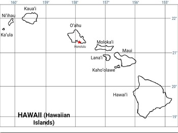 Hawaii Map longitude and latitude