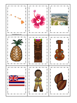 Hawaii themed Memory Matching and Word Matching preschool curriculum game.