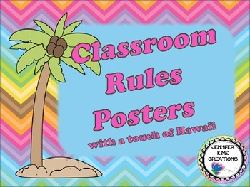 Hawaii/Luau Theme Classroom Rules Posters