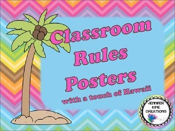 Hawaii/Luau Theme Classroom Rules Posters