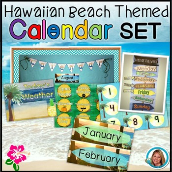 Hawaiian Beach Classroom Decor Calendar Set Editable Tpt