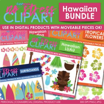 Hawaiian Clipart Plus Digital Papers BUNDLE