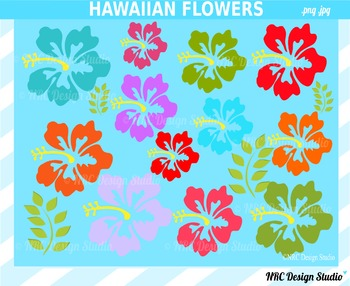 Hawaiian flowers clipart commercial use