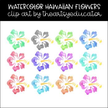 Hawaiian Flowers (Hibiscus) Watercolor Clip Art