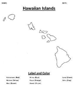 Hawaiian Islands Mapping Worksheet with Word search