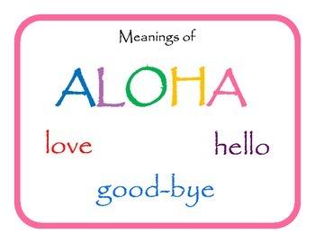Hawaiian Language: Meanings of Aloha Freebie