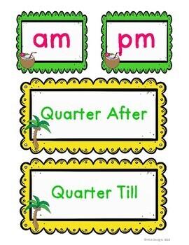Hawaiian Luau - Clock Labels