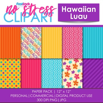 Hawaiian Luau Digital Papers