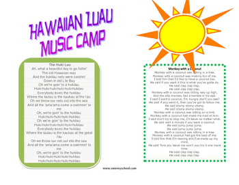 Hawaiian Luau Music Camp Take Home Packet
