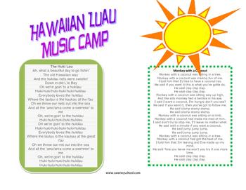 Hawaiian Luau Music Camp Take Home Packet