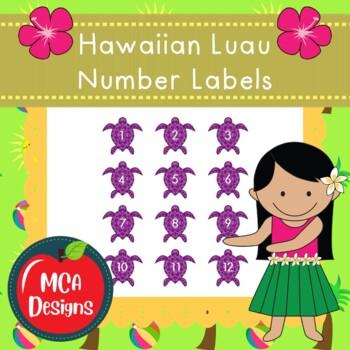 Hawaiian Luau - Number Labels