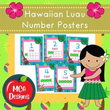 Hawaiian Luau - Number Posters