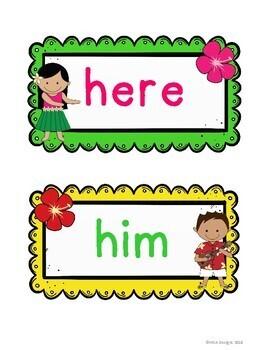 Hawaiian Luau - Sight Word Wall Fry's First 100 Words