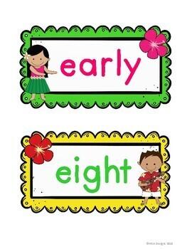 Hawaiian Luau - Sight Word Wall Fry's Third 100